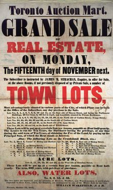 "This photo of an 1847 auction broadside shows how real estate auctions were advertised and just how far back they go.  In fact, it wasn't until the mid 20th century that real estate was sold primarily via the brokerage method.  The auction method of selling real estate has actually been the preferred method for hundreds of years. (Don't be looking to attend the auction featured here!  And, by the way, such broadsides are very collectible ... especially amongst us ""real"" auctioneers.)"